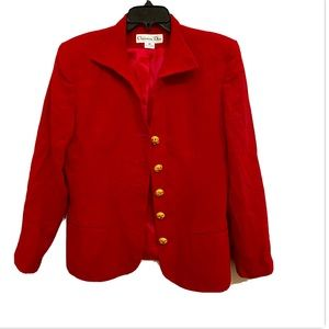 Christian Dior women's red with gold button blazer